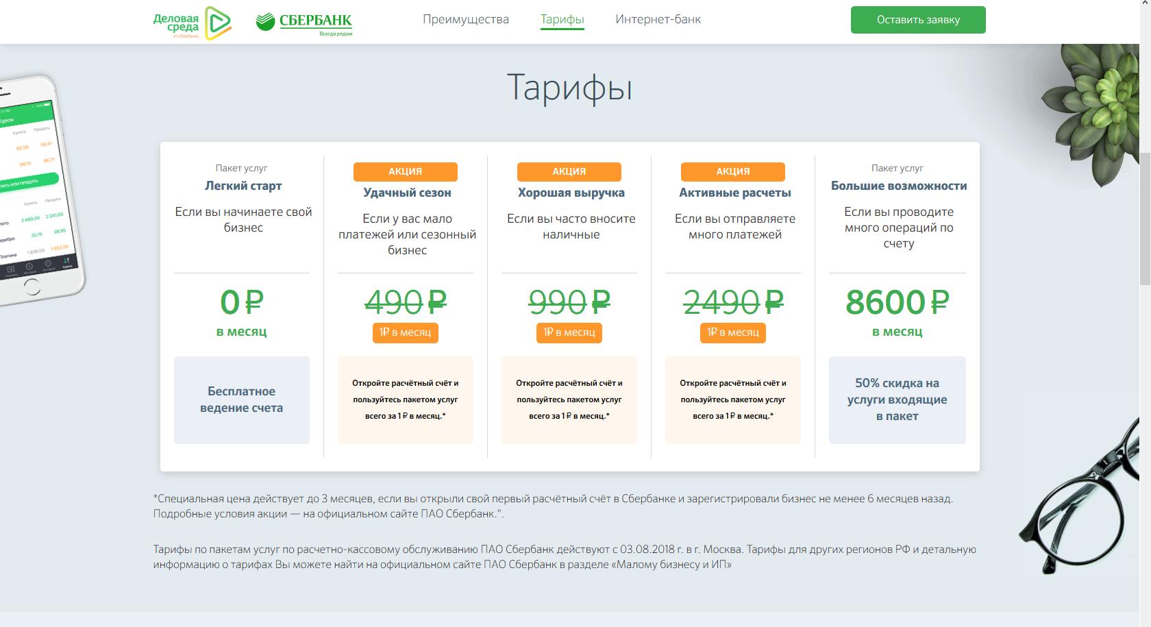 сбербанк россии официальный сайт тарифы для юридических лиц